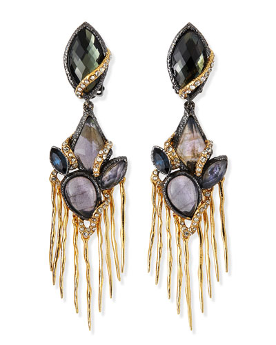 Multi-Stone Mixed Metal Dangle Clip Earrings