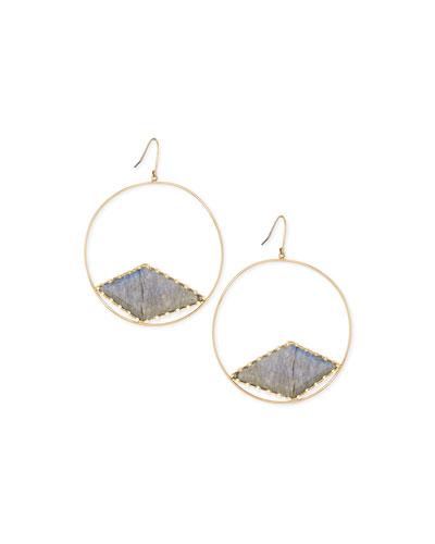Lana Hoop Earrings with Diamond-Shaped Labradorite