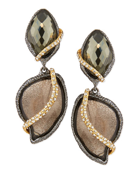2-Stone Drop Earrings with Pave Vine