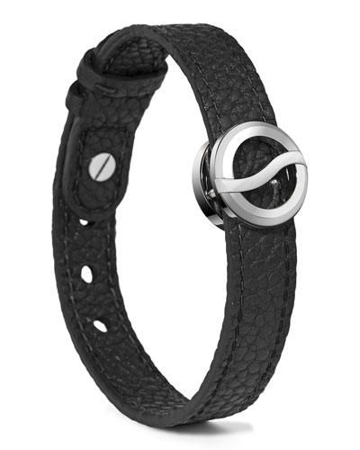 Leather Horizon Bracelet, Black/Stainless