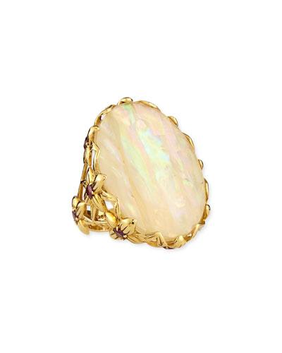 Pearlized Quartz Delphinium Ring