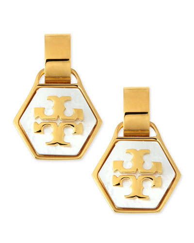 Tory Burch Pearlescent Geo Logo Earrings