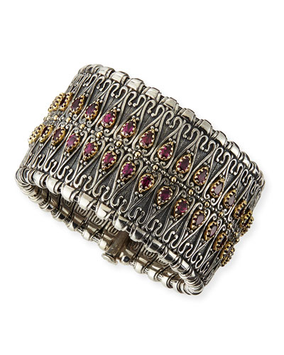 Konstantino Sterling Silver Filigree Cuff with Pear Rhodolite