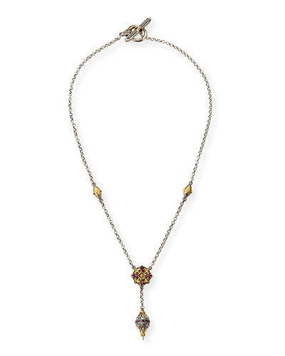Konstantino Sterling Silver, 18k Gold & Rhodolite Y Necklace