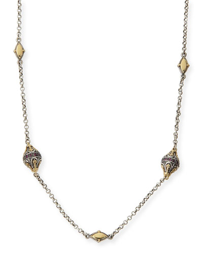 "Konstantino Sterling Silver, 18k Gold & Rhodolite Station Necklace, 36""L"