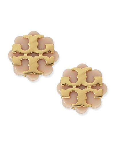 Tory Burch Resin Flower Logo Stud Earrings, Beige/Gold