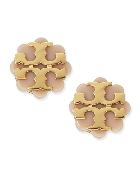 Resin Flower Logo Stud Earrings, Beige/Gold