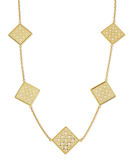 Perforated Square Logo Necklace