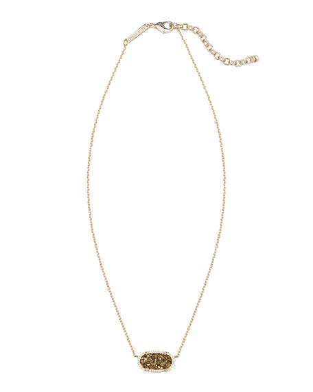 Elisa Iridescent Druzy Necklace, Bronze