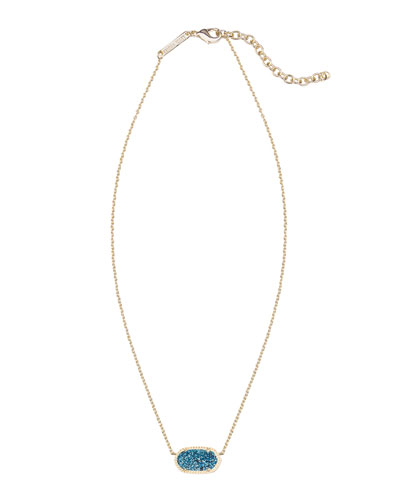 Kendra Scott Elisa Iridescent Druzy Necklace, Blue