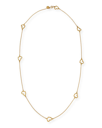 MARC by Marc Jacobs Golden Chasing Hearts Long Necklace