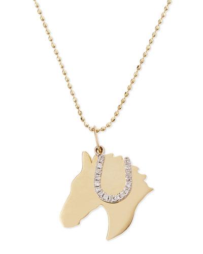 Horse & Horseshoe Duo Charm Necklace with White Diamonds