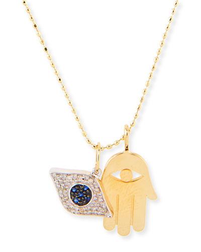 Sydney Evan Hamsa & Evil Eye Duo Charm Necklace