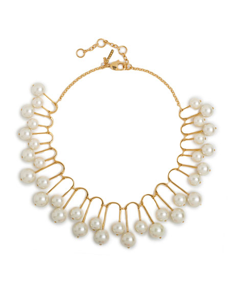Pearly Beaded Fan Necklace