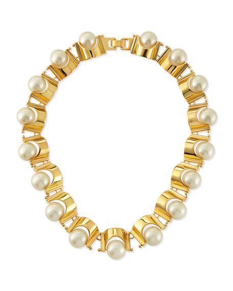 Simulated Pearl Groove Necklace