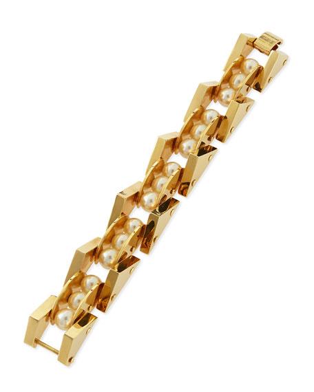 Simulated Pearl Satellite Bracelet