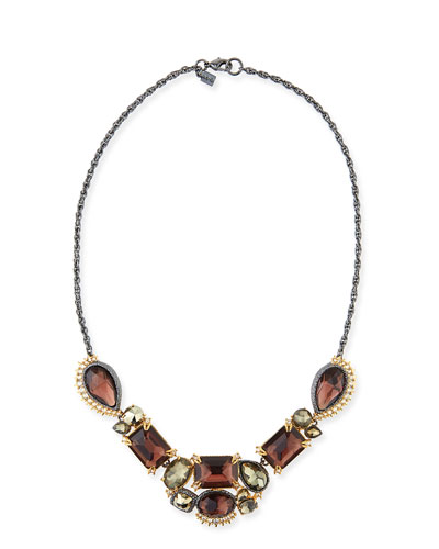 Elements Crystal-Studded Five-Part Bib Necklace