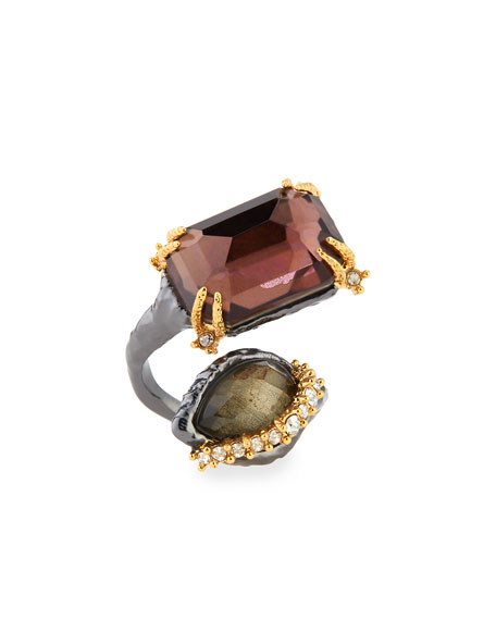 Elements Rocky Metal Ring with Pear/Octagon Pyrite