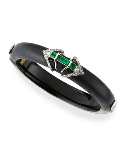 Alexis Bittar Lucite Hinge Bracelet with Emerald-Tone Baguettes, Black