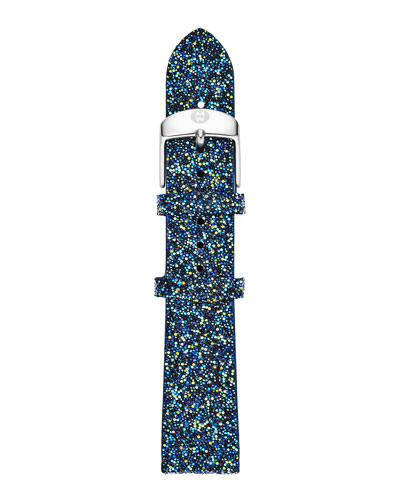 MICHELE 18mm Crystal Watch Strap, Blue Nights