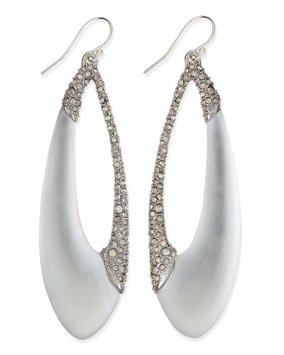 Encrusted Asymmetric Lucite Teardrop Earrings
