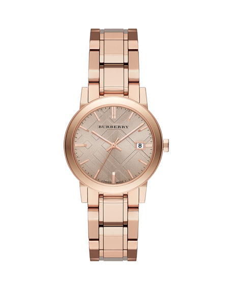 Burberry 34mm Rose Golden Plated City Watch