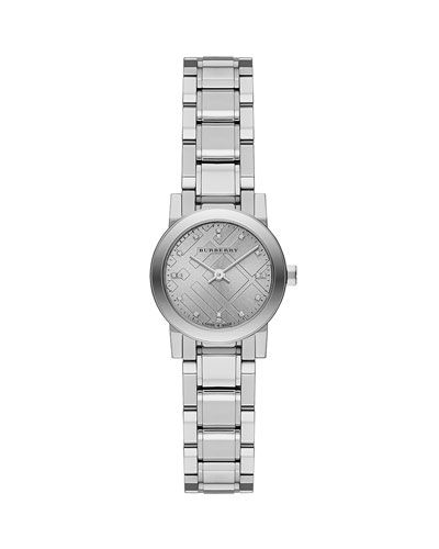 26mm Check/Diamond-Dial Watch with Bracelet Strap