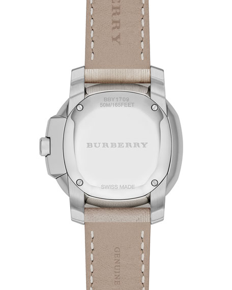 34mm Steel Watch with Check-Leather Strap, Trench