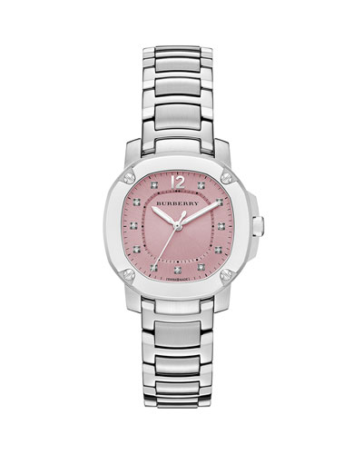 34mm Steel Diamond-Dial Watch with Bracelet Strap, Pink