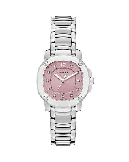 34mm Steel Diamond-Dial Watch with Bracelet Strap, Pink