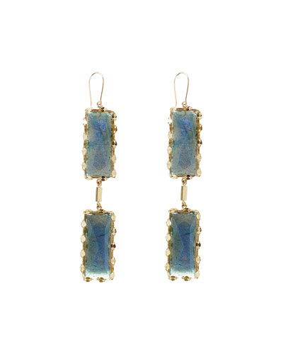 Lana Double Crystal Labradorite Drop Earrings