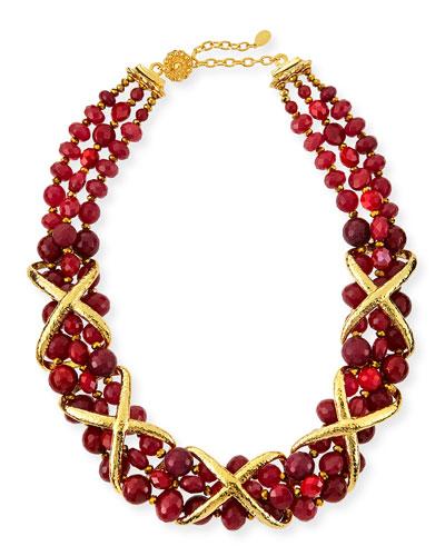Burgundy Dyed Jade Necklace