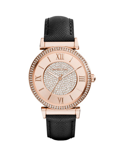 Caitlin Leather-Strap Rose Golden Stainless Steel Watch