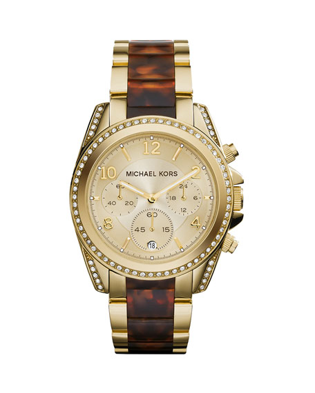 Mid-Size Golden Stainless Steel Blair Chronograph Glitz Watch