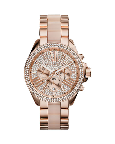 Wren Rose Golden Stainless Steel Pave Watch