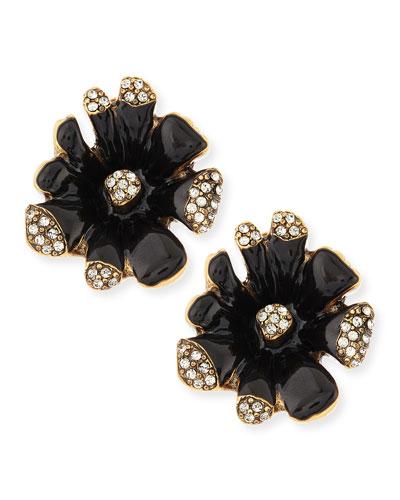 Black Enamel Orchid Earrings