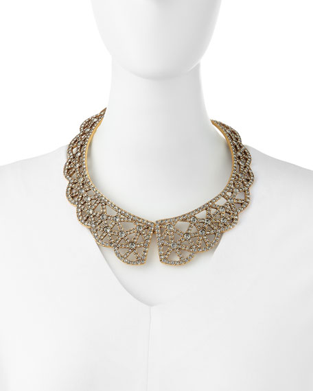 Scalloped Web Crystal Collar Necklace