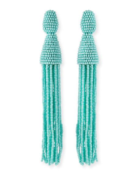 Long Beaded Tassel Clip Earrings, Aquamarine