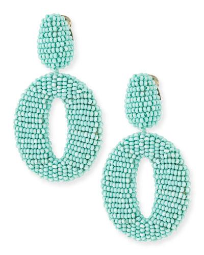 Oscar O Beaded Clip Earrings, Aquamarine