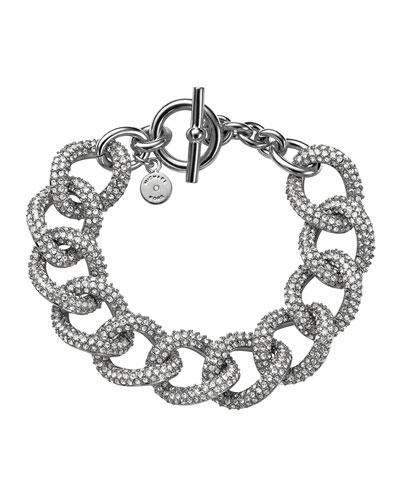 Silvertone Pave Curb-Link Bracelet