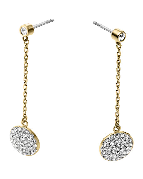 Golden/Silver Pave Disc-Drop Earrings