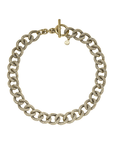 Golden Pave Curb-Link Toggle Necklace