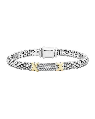 Lagos Diamond Lux Silver & Gold Bracelet, Sz 7