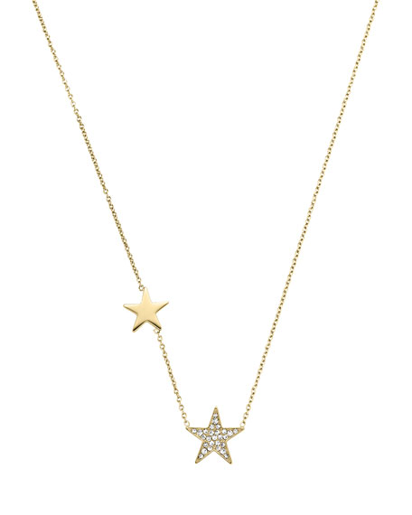 Golden Pave Star Pendant Necklace