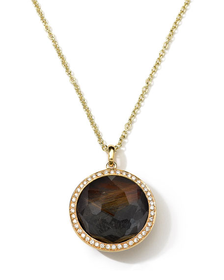 18K Gold Rock Candy Lollipop Necklace in Quartz/Hematite & Diamonds