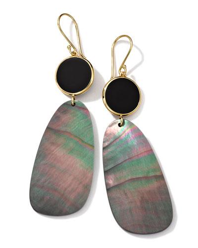 Ippolita 18K Gold Ondine 2-Drop Earrings in Onyx/Black Shell