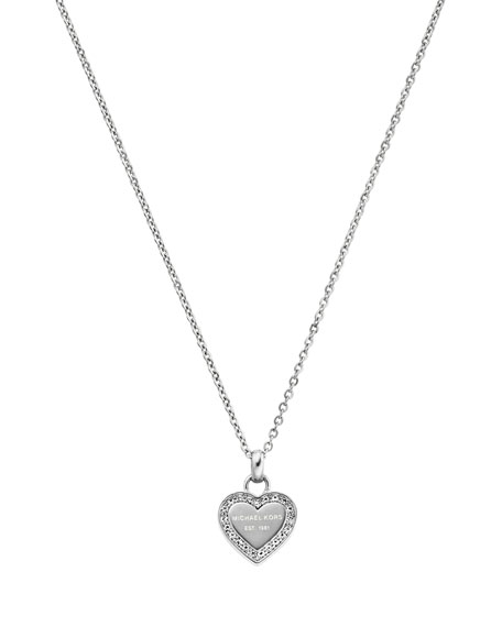 Silvertone Pave Logo Heart Necklace