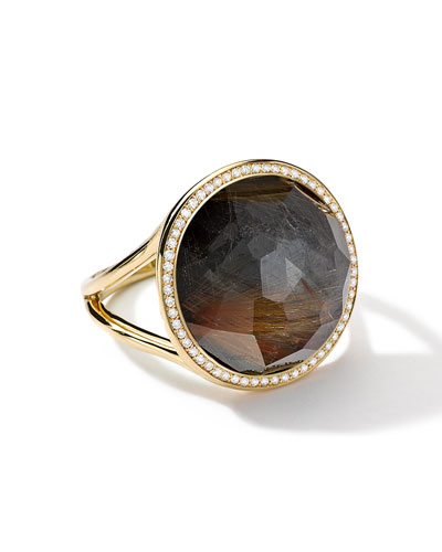 Ippolita 18k Gold Rock Candy Lollipop Ring, Quartz/Hematite/Diamonds