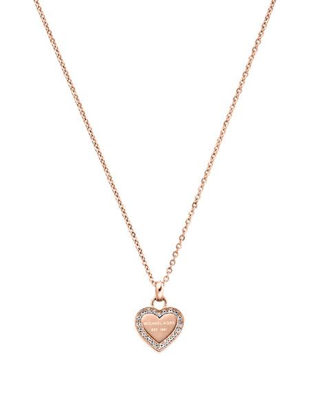 Rose Golden Pave Logo Heart Necklace