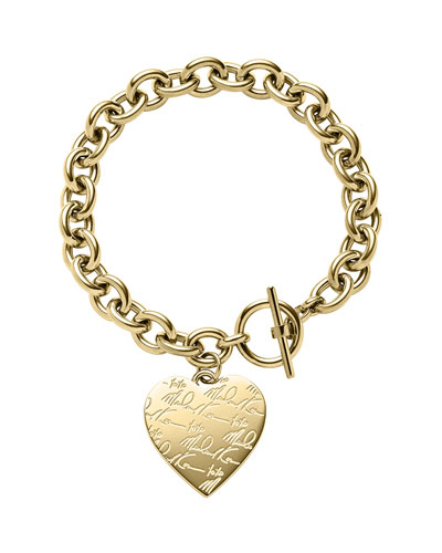 Golden Etched MK Heart Bracelet